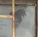 """Grace""  Mixed Media – Collage 2009 4 1/2"" x 6 3/4"" x 3"" Tumbled glass, copper framing, silver leaf,  image transfer, cedar box Inspired by W. B. Yeats poem, Mountain Hare"
