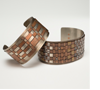 "Cuff Bracelets, Mixed Metal –Copper, Nichol New Gold, silver wire 2"" wide"