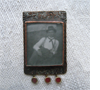 Photo pendant. Copper, garnet, silver, vintage photo tumbled glass