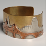 Three City Story cuff bracelet 1961. Copper, Brass, New Gold